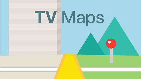 Illustration på väg med texten TV Maps